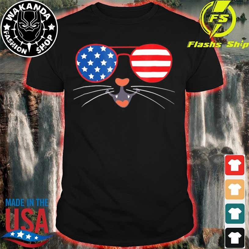 4th of july cute kitty cat American flag sunglasses whiskers shirt