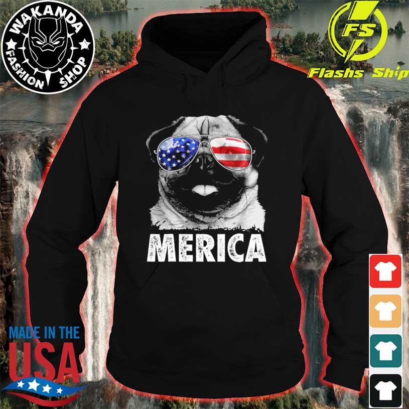Pug 4th of july merica men women usa American flag hoodie