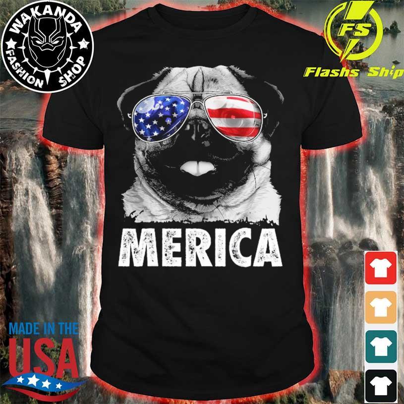 Pug 4th of july merica men women usa American flag shirt