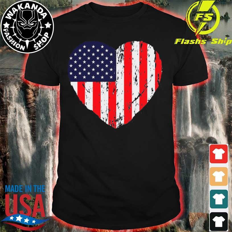 Retro 4th of july heart patriotic American flag vintage shirt